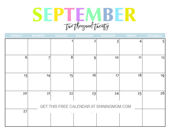 September Calendar 2020 Printable.Free Printable 2020 Calendar So Beautiful Colorful