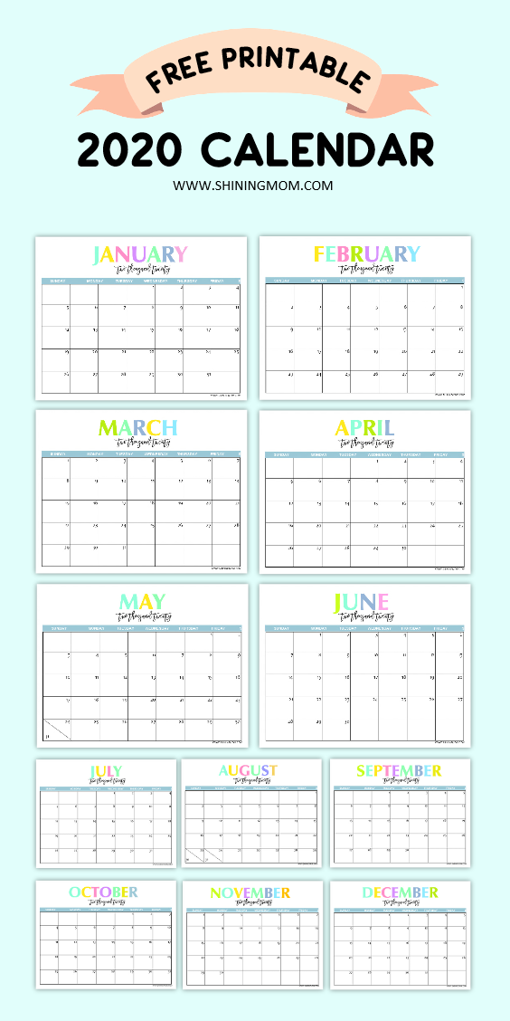 Free Printable 2020 Monthly Calendar.Free Printable 2020 Calendar So Beautiful Colorful