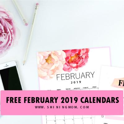 Free Printable February 2019 Calendar: 12  Awesome Designs!