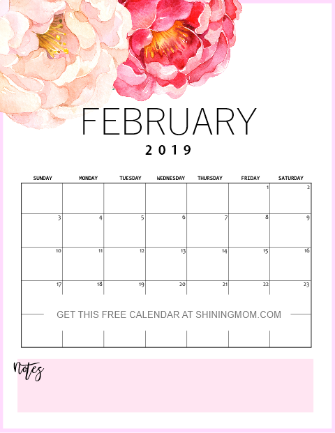 beautiful February 2019 calendar