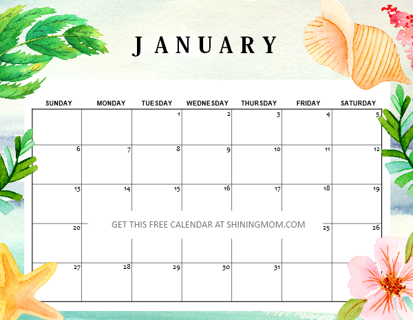 free printable January 2019 calendar cute!