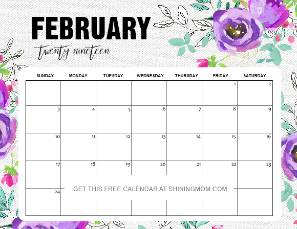 Pretty Calendar 2019 Printable February 12 Free Printable February 2019 Calendar and Planners: Awesome