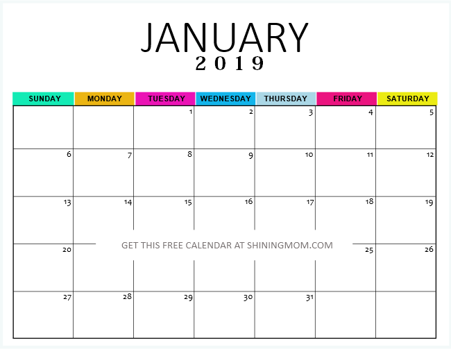 Printable 2019 January Calendar Cute Free Printable January 2019 Calendar: 12 Awesome Designs!