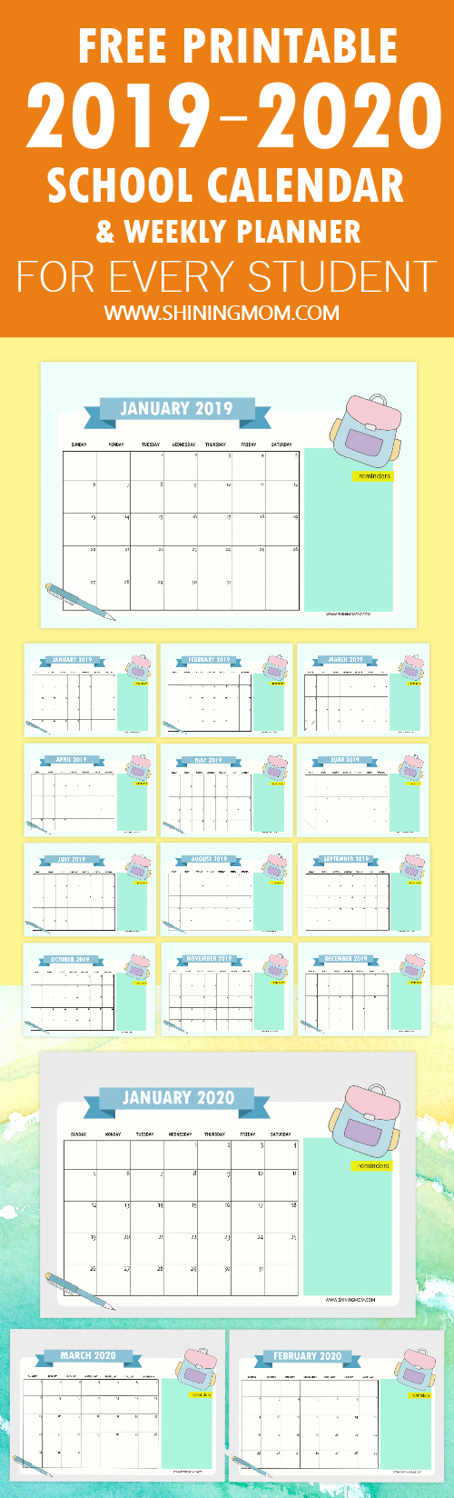 FREE 2019 to 2020 school calendar free printable