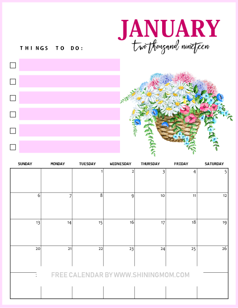 2019 January floral calendar