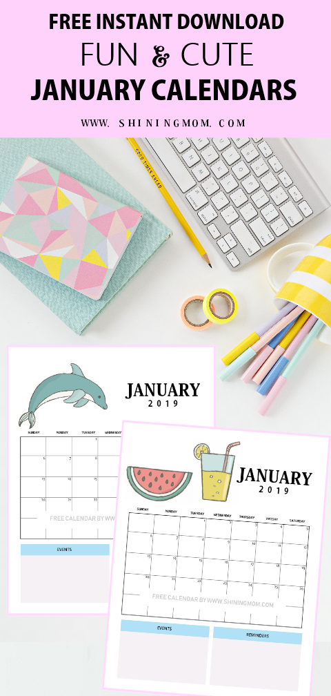 cute 2019 January calendar printables for kids