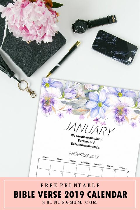 2019 January calendar Bible verse