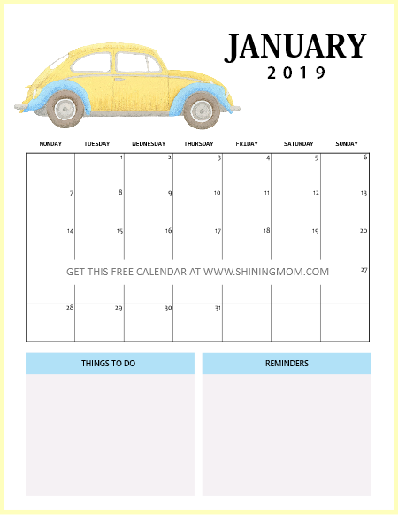 January 2019 Calendar Free Printable