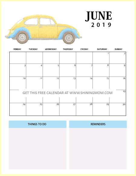 June 2019 Calendar Free Printable