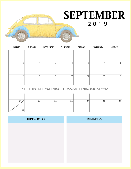 September 2019 Calendar Free Printable