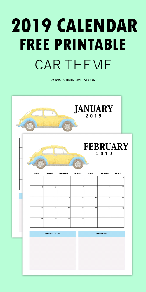 2019 Calendar Free Printable: Car-Themed Design with ...
