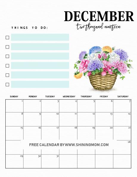December Calendar 2019 template