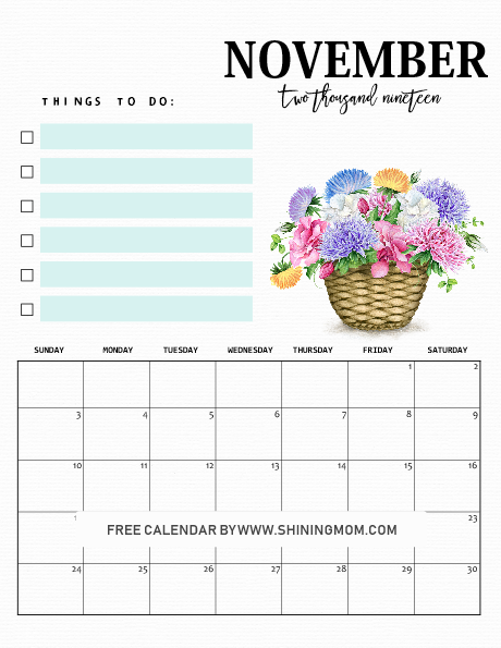 free 2019 calendar template with to