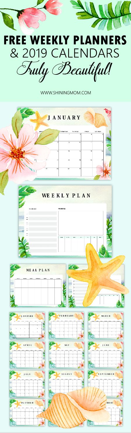 2019 calendars and planners free printable
