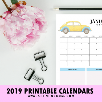 2019 Calendar Free Printable: Car-Themed Design with Reminders!