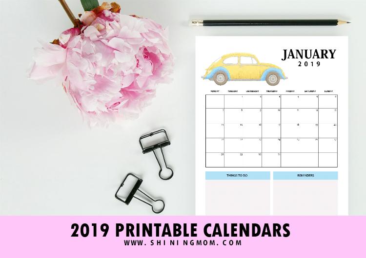 2019 Calendar with Holidays Printabe Monthly Calendar PDF ...