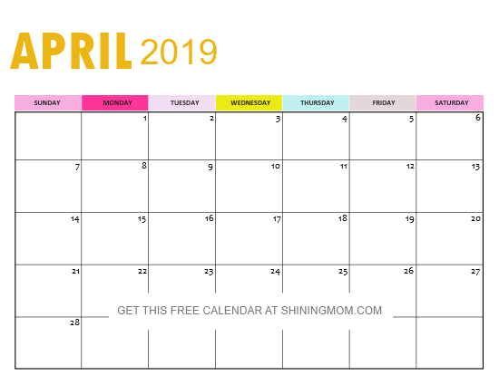 FREE 2019 Calendar PDF with Weekly Planner: So Pretty!