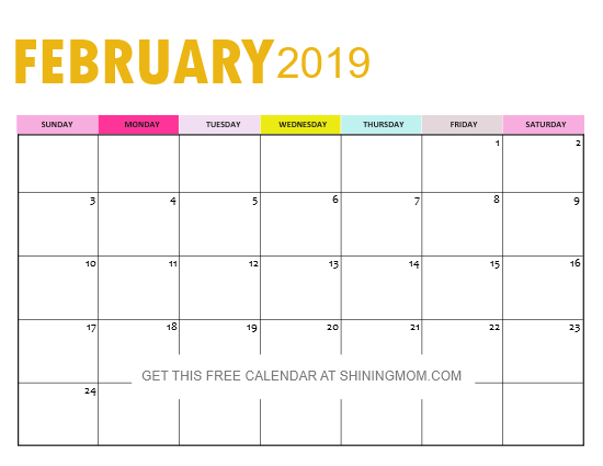 Free Planning Calendar 2019 February FREE 2019 Calendar PDF with Weekly Planner: So Pretty!