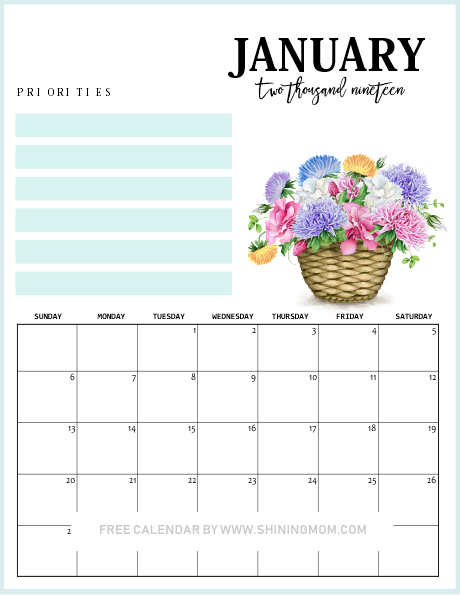 beautiful January 2019 printable calendar