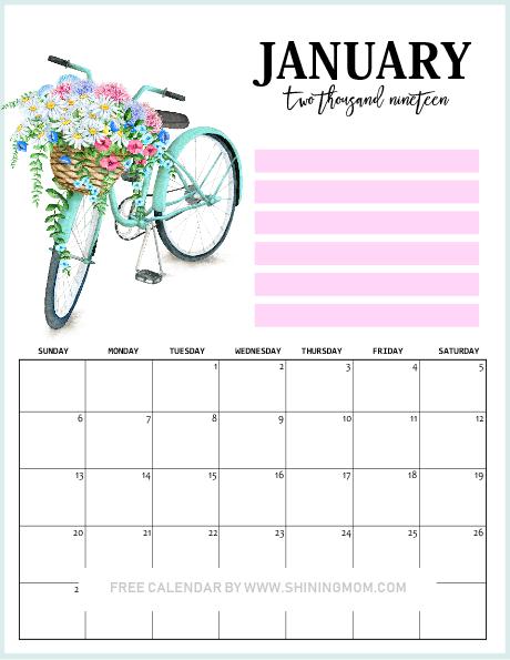 2019 January printable calendar