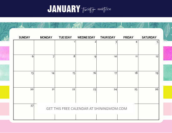 colorful January 2019 calendar