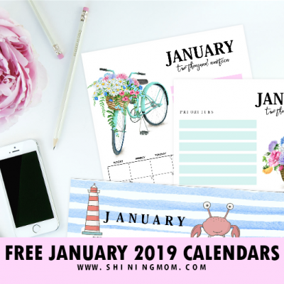 15 FREE January 2019 Printable Calendar Planners: Fresh Designs!