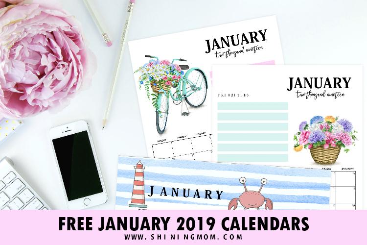 15 FREE January 2019 Printable Calendar Planners: Fresh Designs!