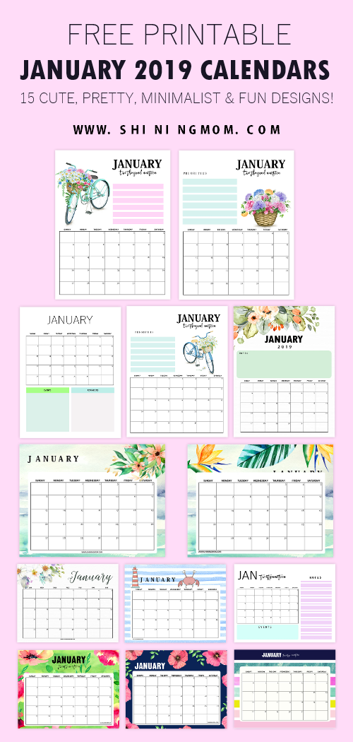 15 Free January 2019 Printable Calendar Planners Fresh Designs