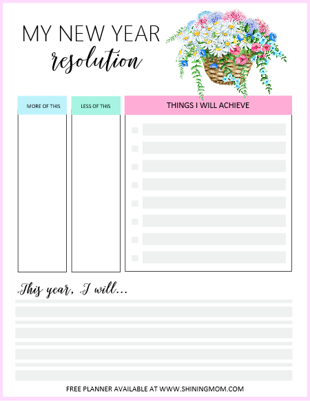 New Year resolution worksheet
