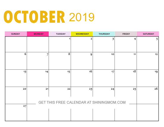 October 2019 Calendar in free PDF file
