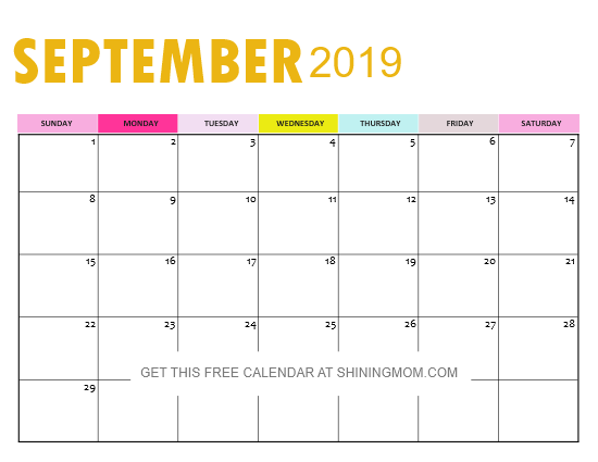 September 2019 calendar free download