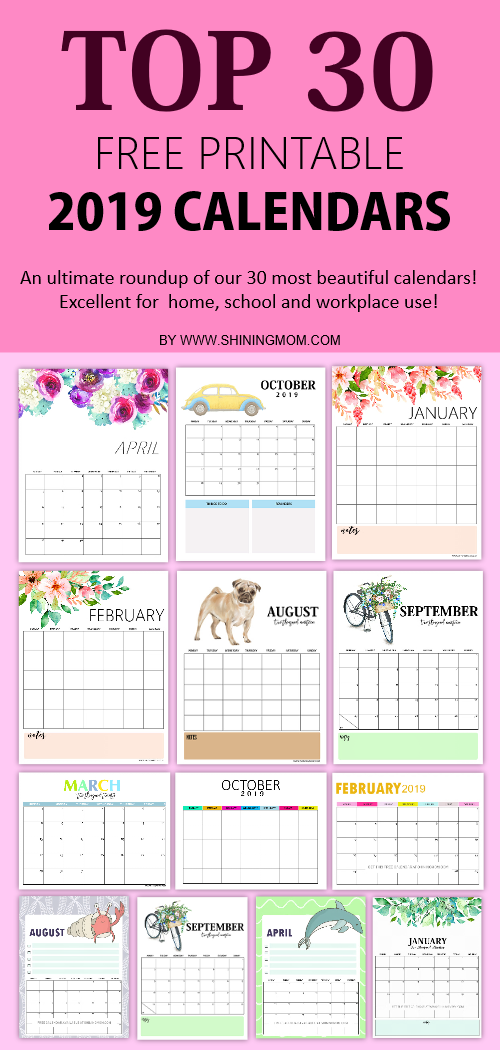 photograph about Calendars Free Printable referred to as Supreme 30 Cost-free 2019 Printable Calendars: Incredible Types!