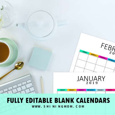 Free Editable Blank Calendar 2019: Colorful Monthly Template!