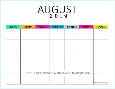 Editable blank calendar 2019 August