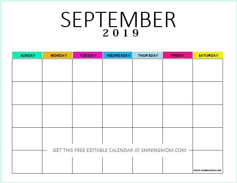Editable blank calendar 2019 September