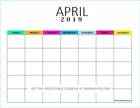 Editable blank calendar 2019 April