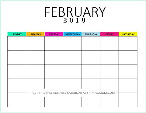 Editable blank calendar 2019 February