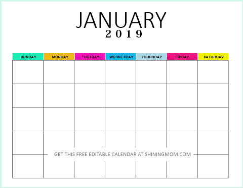 Free Fillable Calendar 2019 Free Editable Blank Calendar 2019: Colorful Monthly Template!