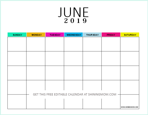 June 2019 To June 2020 Calendar Printable.Free Editable Blank Calendar 2019 Colorful Monthly Template