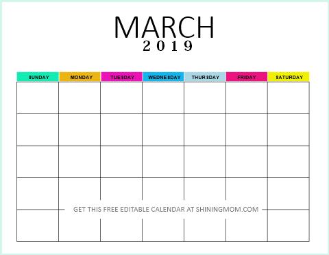 Editable blank calendar 2019 March