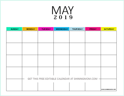 Free Editable Blank Calendar 2019 Colorful Monthly Template