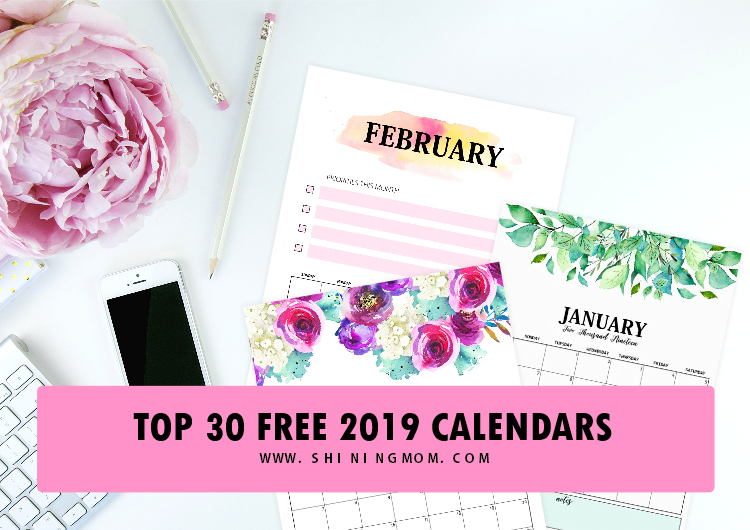 top 30 free 2019 printable calendars  awesome designs