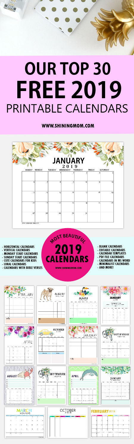 Top 30 Free 2019 Printable Calendars: Awesome Designs!
