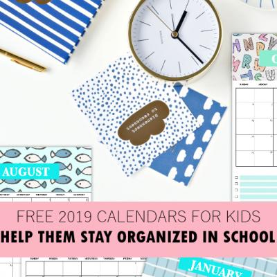 2019 Free Printable Calendar for Kids: Fun, Cute, Colorful!