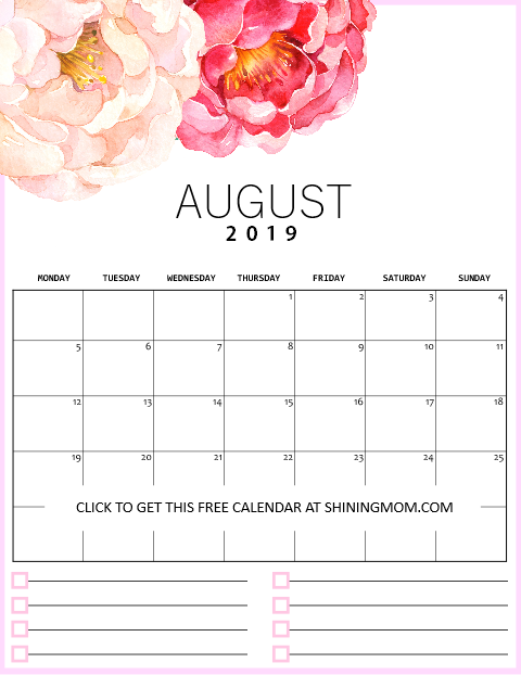 August printable monthly calendar 2019