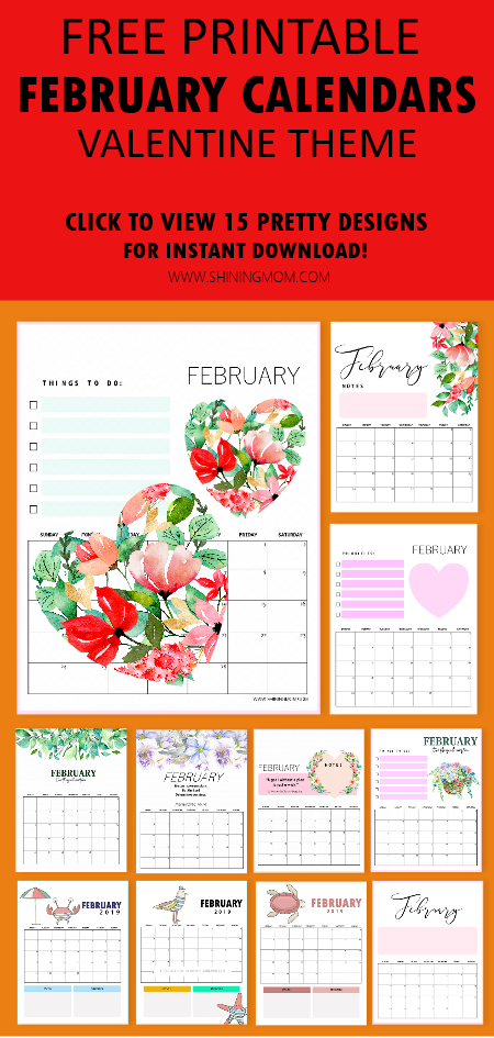 February 2019 Printable Calendar :15 Fresh Designs to Love!