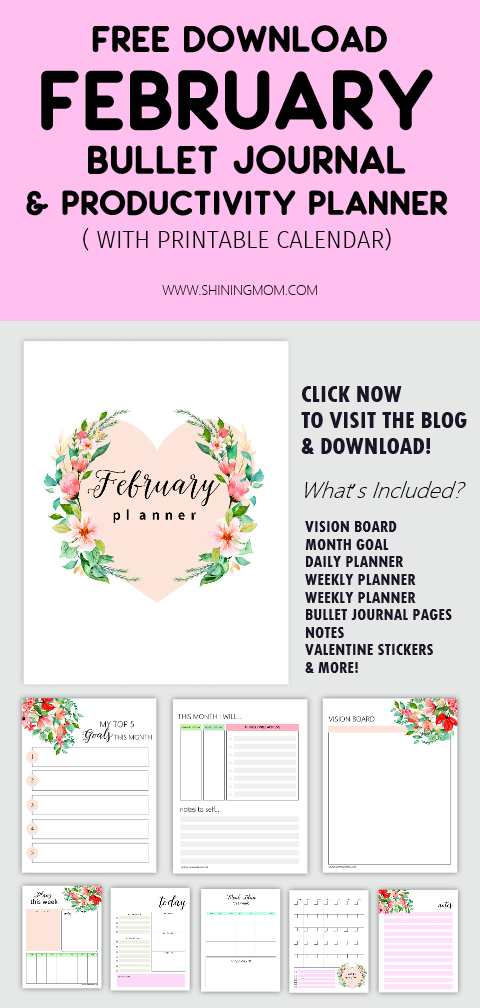 Get your February Bullet Journal and Productivity Planner Free Printables! Over 15 pages to use, Includes bullet journal ideas, stickers and templates for February! #bulletjournal #bujo #planner #freeprintable #free #february