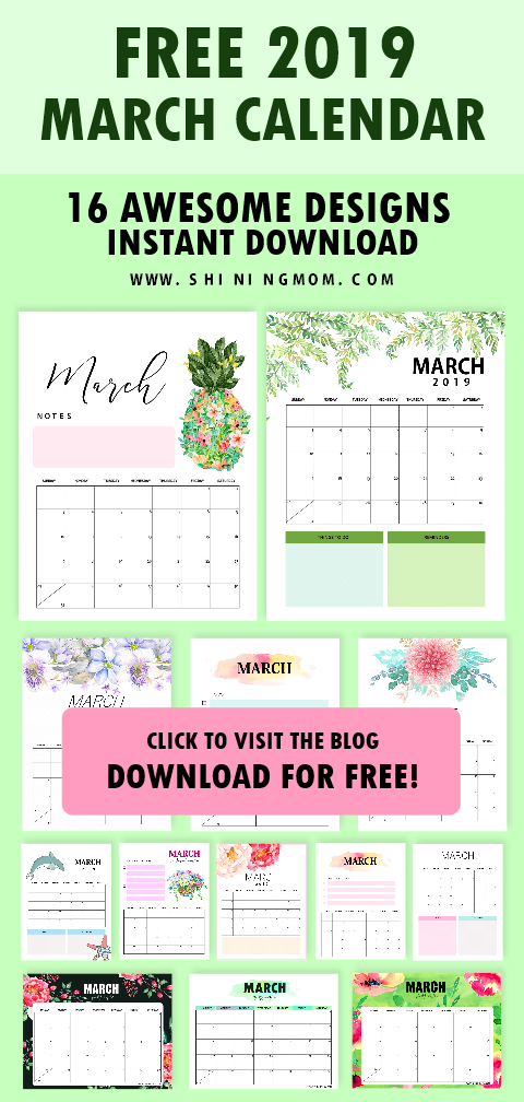 Download your March 2019 calendar for free! Excellent to use to get organized. #calendar #march2019 #march