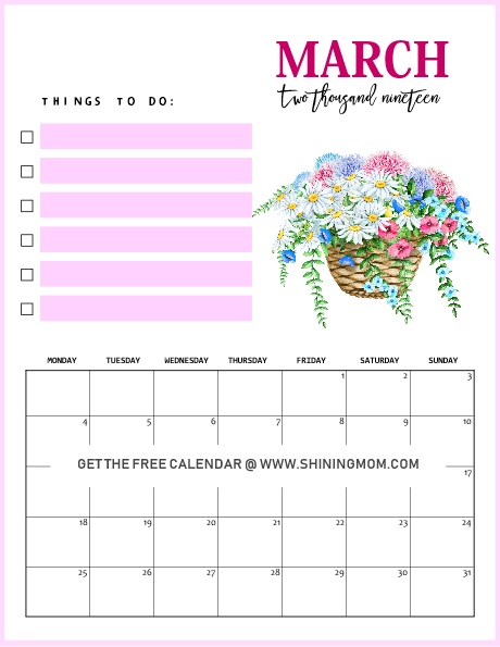 beautiful March 2019 calendar for free download