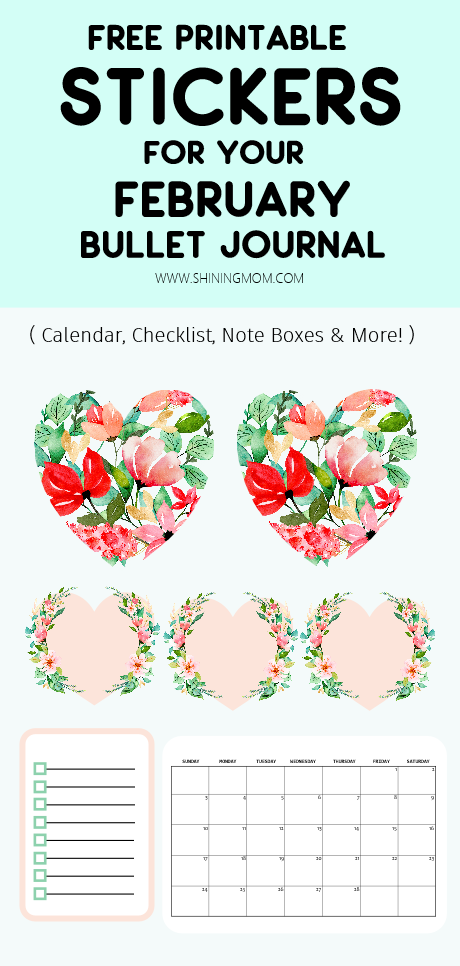 February Bullet Journal Stickers -Free Printable!